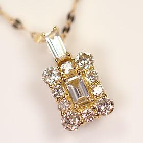 ダイヤモンド ネックレス イエローゴールド K18・ダイヤモンド0.38ct(SIクラス・鑑別書カード付) クラシカルウィンドウペンダント