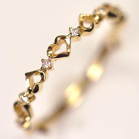 ダイヤモンド リング イエローゴールド K18・ダイヤモンド0.04ct ハートリング   送料無料