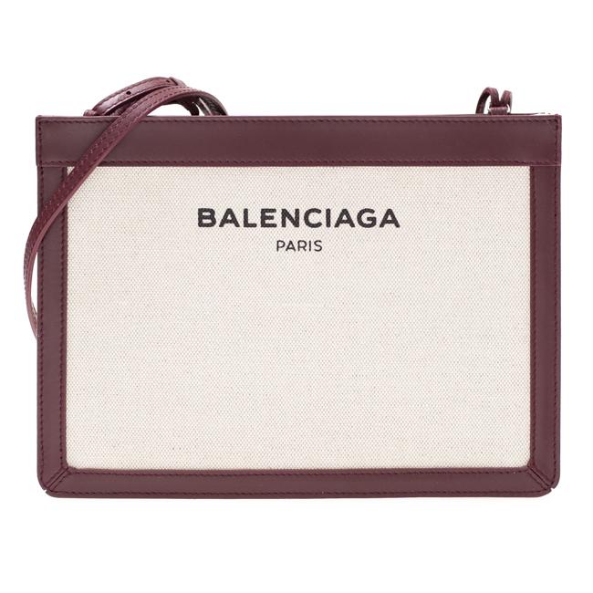 バレンシアガ BALENCIAGA ショルダーバッグ キャンバス/レザー ナチュラル/ボルドー 339937 A037N 6180 BANDOULIERE バンドリエール ロゴ レディース 送料無料