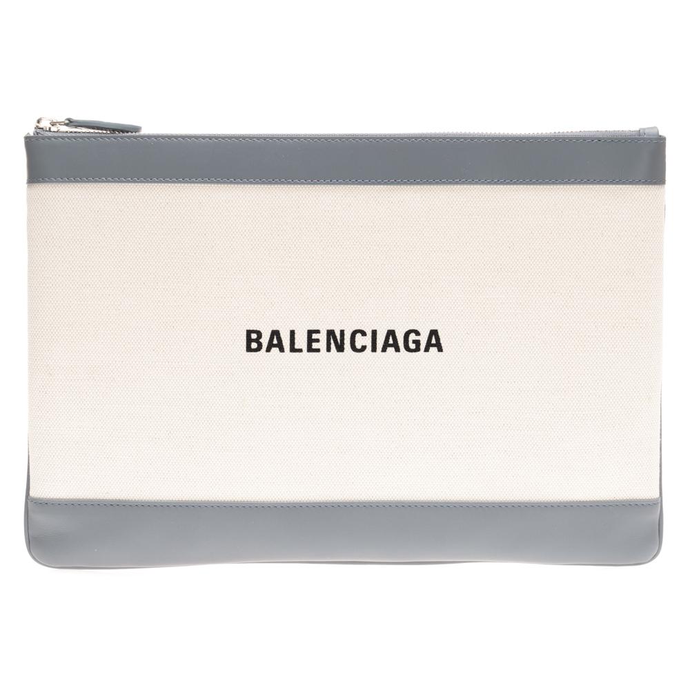 バレンシアガ BALENCIAGA メンズ バック 鞄 かばん セール 代引無料  バレンシアガ BALENCIAGA クラッチバッグ ドキュメントポーチ 420407 AQ37N 1380 ナチュラル×グレー ポーチ POCHETTE 送料無料