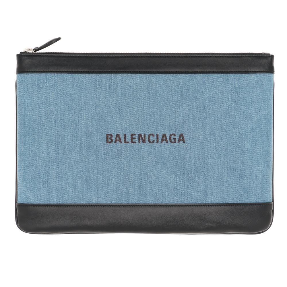 バレンシアガ クラッチバッグ バッグ ドキュメントポーチ レディース メンズ BALENCIAGA 420407 9275N 4260 デニム/レザー ギフト プレゼント