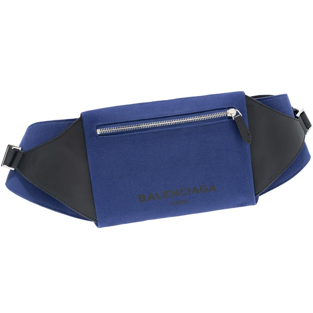 バレンシアガ BALENCIAGA ショルダーバッグ ベルトバッグ キャンバス/レザー ブラック/ブルー 433625 KLXAN 4260 メンズ レディース