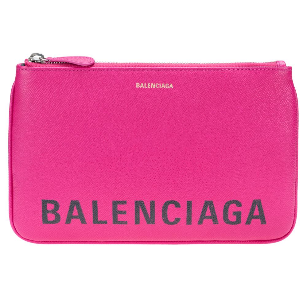 バレンシアガ BALENCIAGA ポーチ クラッチバッグ VILLE ヴィル ピンク ロゴ 545773 型押しレザー 革 送料無料