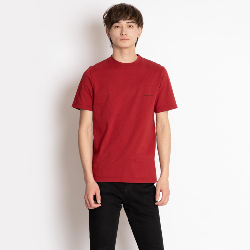 バレンシアガ balenciaga Tシャツ メンズ セール 代引無料 トップス カットソー 正規認証品 新規格 BALENCIAGA 早割クーポン 胸ロゴ レッド TCV25 コットン XS 6064 送料無料 556151