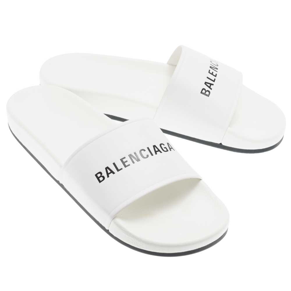 バレンシアガ BALENCIAGA ビーチサンダル 506347 WAL00 9061 ナッパレザー コンフォート ホワイト 40(26.5)/41(27) ラバーソール 送料無料