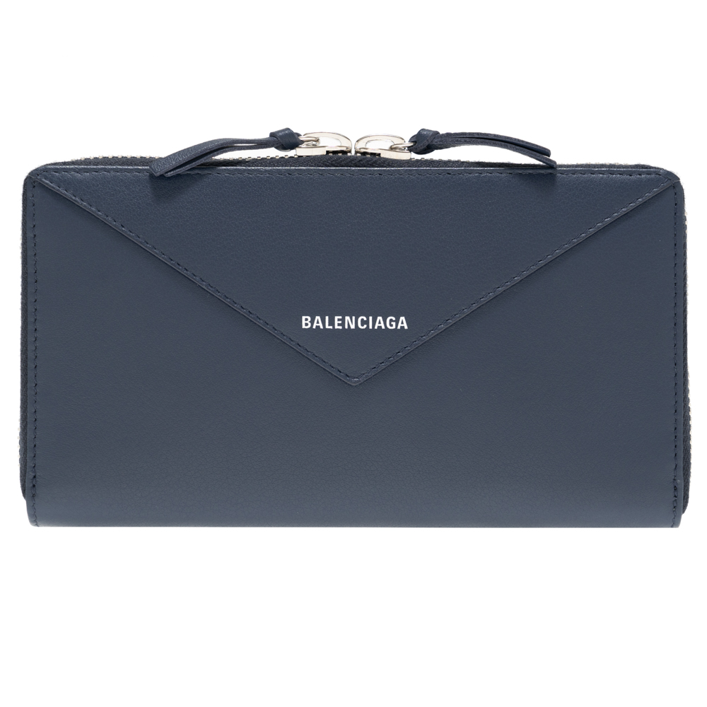 バレンシアガ 財布 BALENCIAGA レディース メンズ 長財布 ネイビー 381226 DLQ0N 4222 ペーパー PAPER ZA CONT ZA DEEP BLUE レザー 革 ファスナー イタリア製 ギフト プレゼント