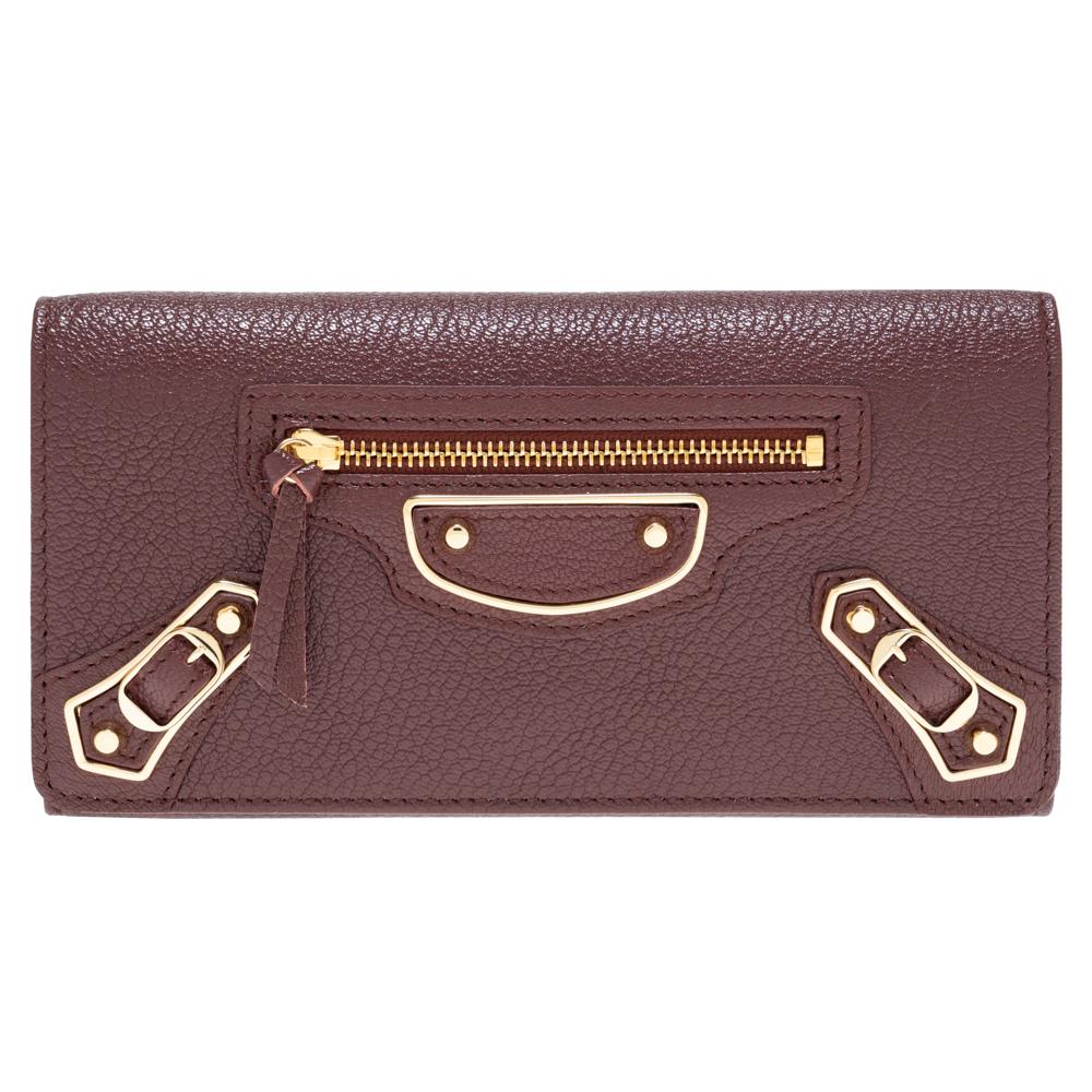 バレンシアガ 財布 二つ折り長財布 クラシック レディース メンズ BALENCIAGA 390184 AQ40G 6210 レザー ボルドー 送料無料 男女兼用 新品・正規品