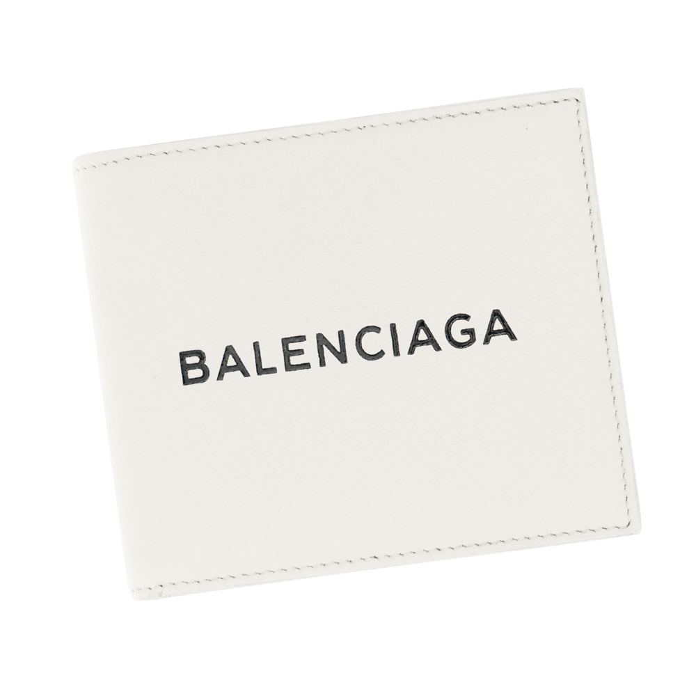 ギフトラッピング対応 バレンシアガ 折財布 BALENCIAGA メンズ 直営限定アウトレット コンパクト セール 代引無料 二つ折り財布 小銭入れ付き ホワイト ブラック レザー 白 お気に入り プレゼント 487435 9060 EVERYDAY ギフト ラッピング対応 エブリデイ DLQHN 革
