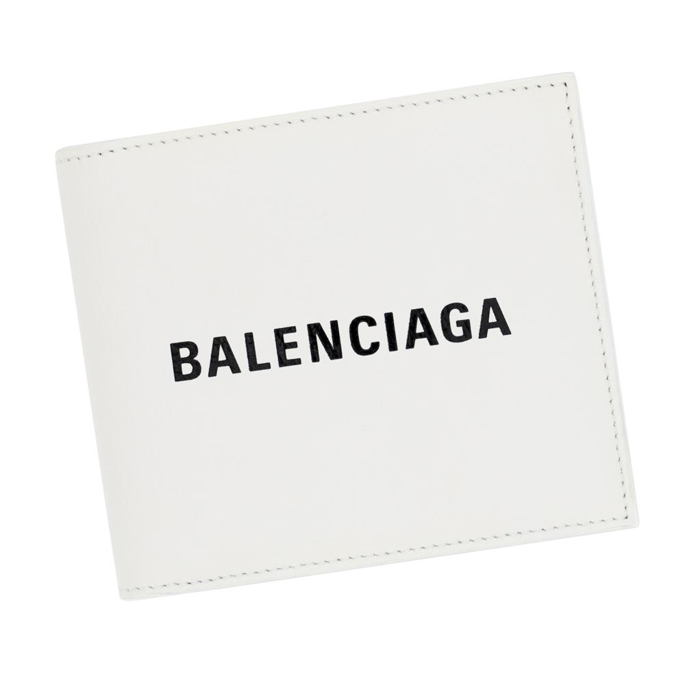 バレンシアガ 二つ折り財布 小銭入れ付き メンズ ホワイト/ブラック BALENCIAGA 487435 DLQHN 9060 EVERYDAY エブリデイ レザー 革 白 ギフト プレゼント