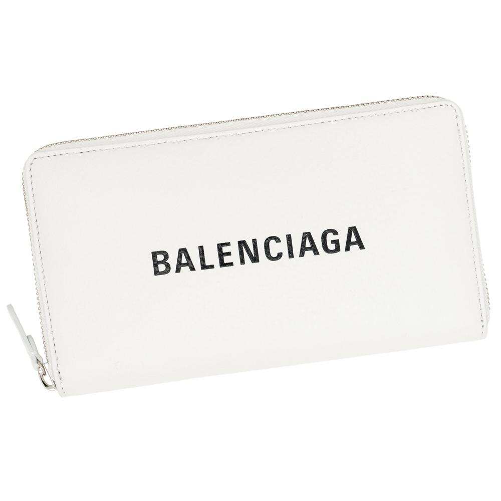 バレンシアガ 財布 ファスナー長財布 レディース メンズ BALENCIAGA 490625 DLQ4N 9060 レザー ホワイト/ブラック エブリデイ EVERYDAY 革 白 ギフト プレゼント