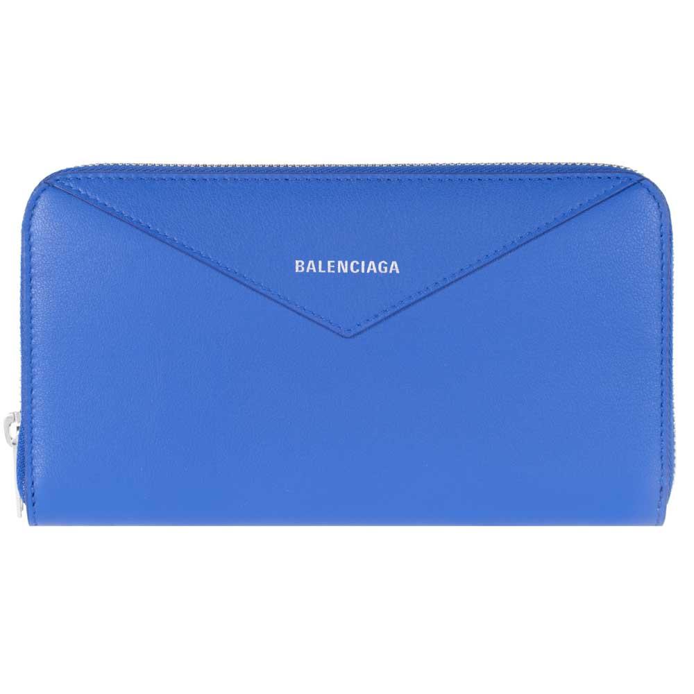 バレンシアガ 財布 メンズ ペーパー 長財布 BALENCIAGA 504547 DLQ0N 4330 レザー ファスナー ブルー 青 ZIP 送料無料 男女兼用