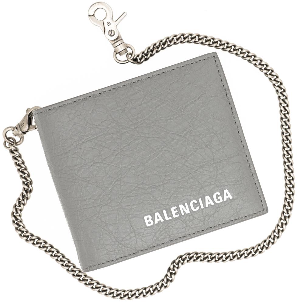 バレンシアガ 二つ折り財布 小銭入れなし チェーンウォレット メンズ BALENCIAGA 504933 DB505 1410 レザー 革 グレー ギフト プレゼント