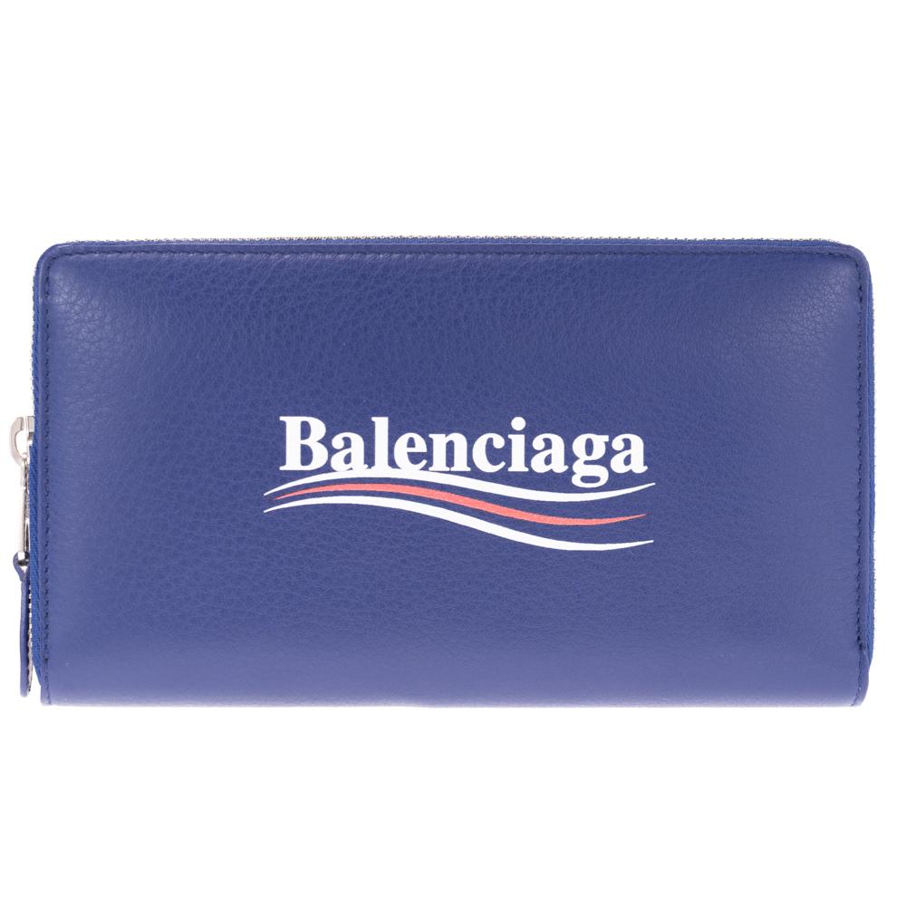 バレンシアガ 財布 長財布 BALENCIAGA ブルー 516362 DLQ9N 4610 レザー ファスナー ZIP 送料無料