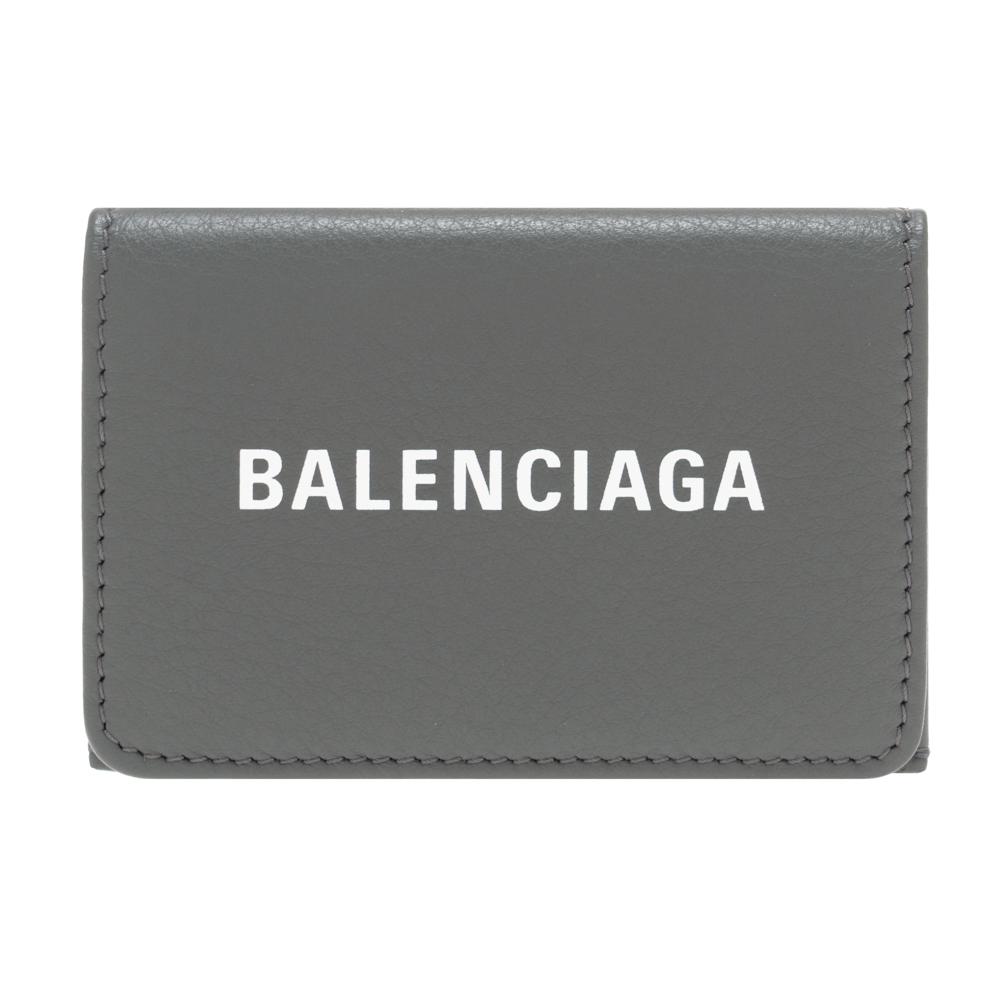 バレンシアガ 財布 三つ折り財布 小銭入れ付き コンパクト レディース メンズ BALENCIAGA 551921 DLQ4N 1160 ダークグレー レザー EVERYDAY エブリデイ 男女兼用