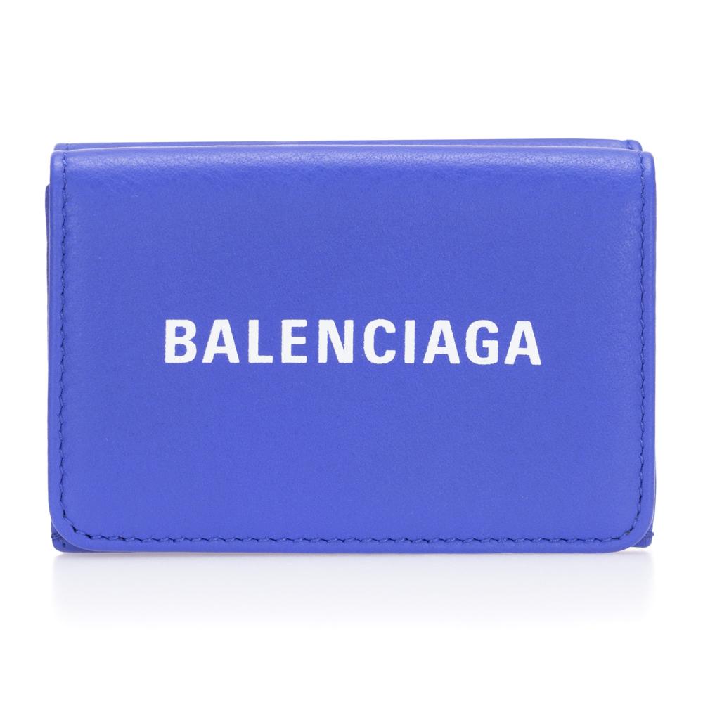バレンシアガ 財布 三つ折り財布 コンパクト レディース メンズ BALENCIAGA 551921 ブルー レザー EVERYDAY エブリデイ 送料無料 男女兼用