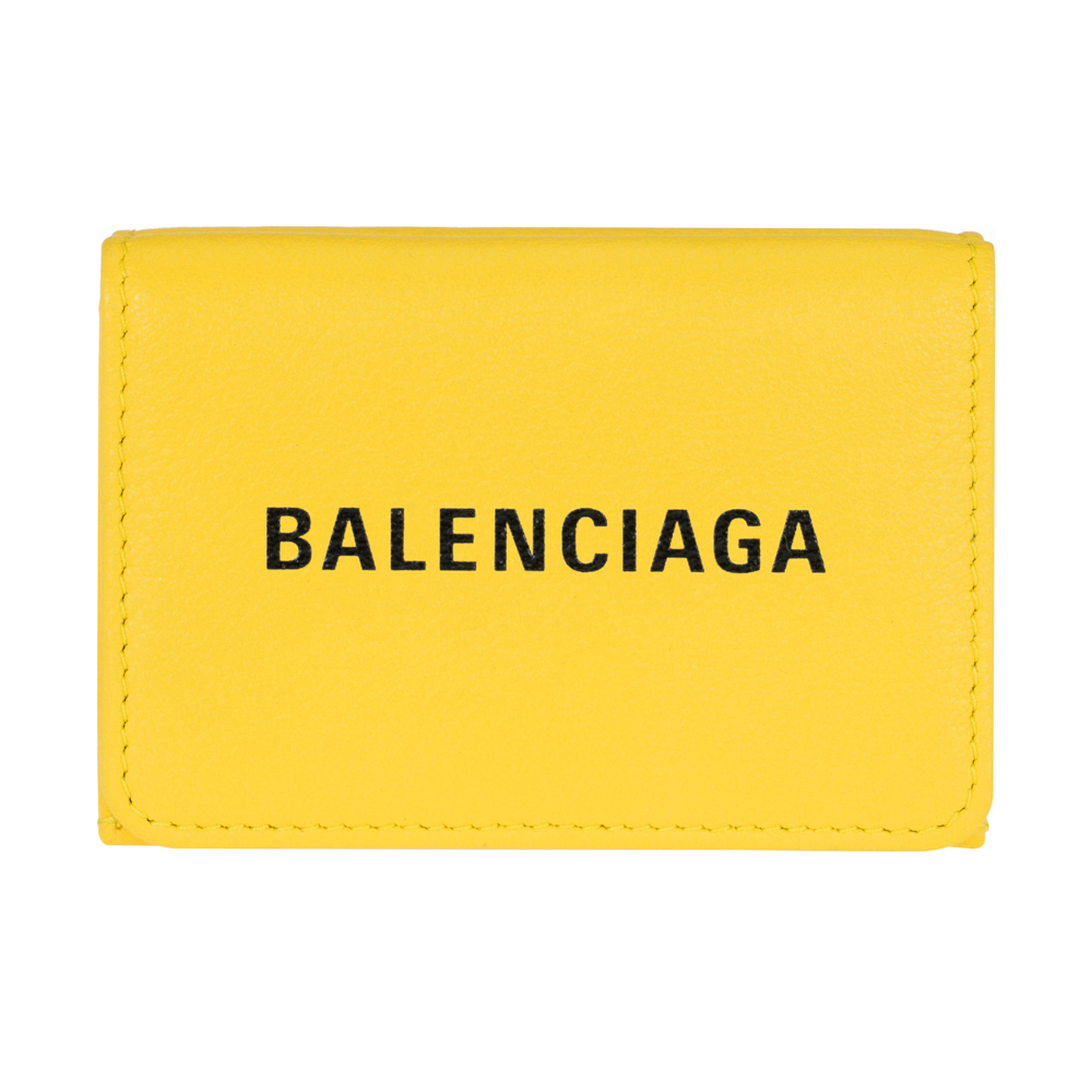 バレンシアガ 財布 3つ折り財布 コンパクト レディース メンズ BALENCIAGA 551921 DLQ4N 7140 レザー イエロー EVERYDAY エブリデイ 送料無料 男女兼用