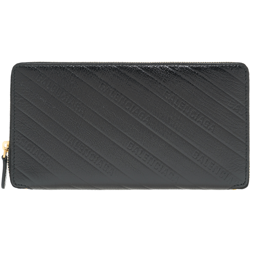 バレンシアガ BALENCIAGA 財布 二つ折 ファスナー長財布 ブラック 553884 AQ4BM 1000 レザー シンプル ギフト プレゼント 黒 革