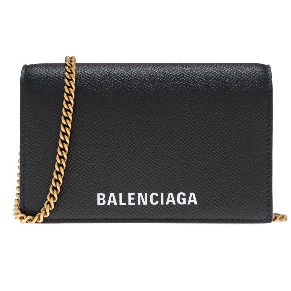 バレンシアガ ショルダーバッグ 三つ折り財布 小銭入れ付き チェーンウォレット レディース BALENCIAGA 581100 00TGM 1000 レザー 革 ブラック 黒 ギフト プレゼント