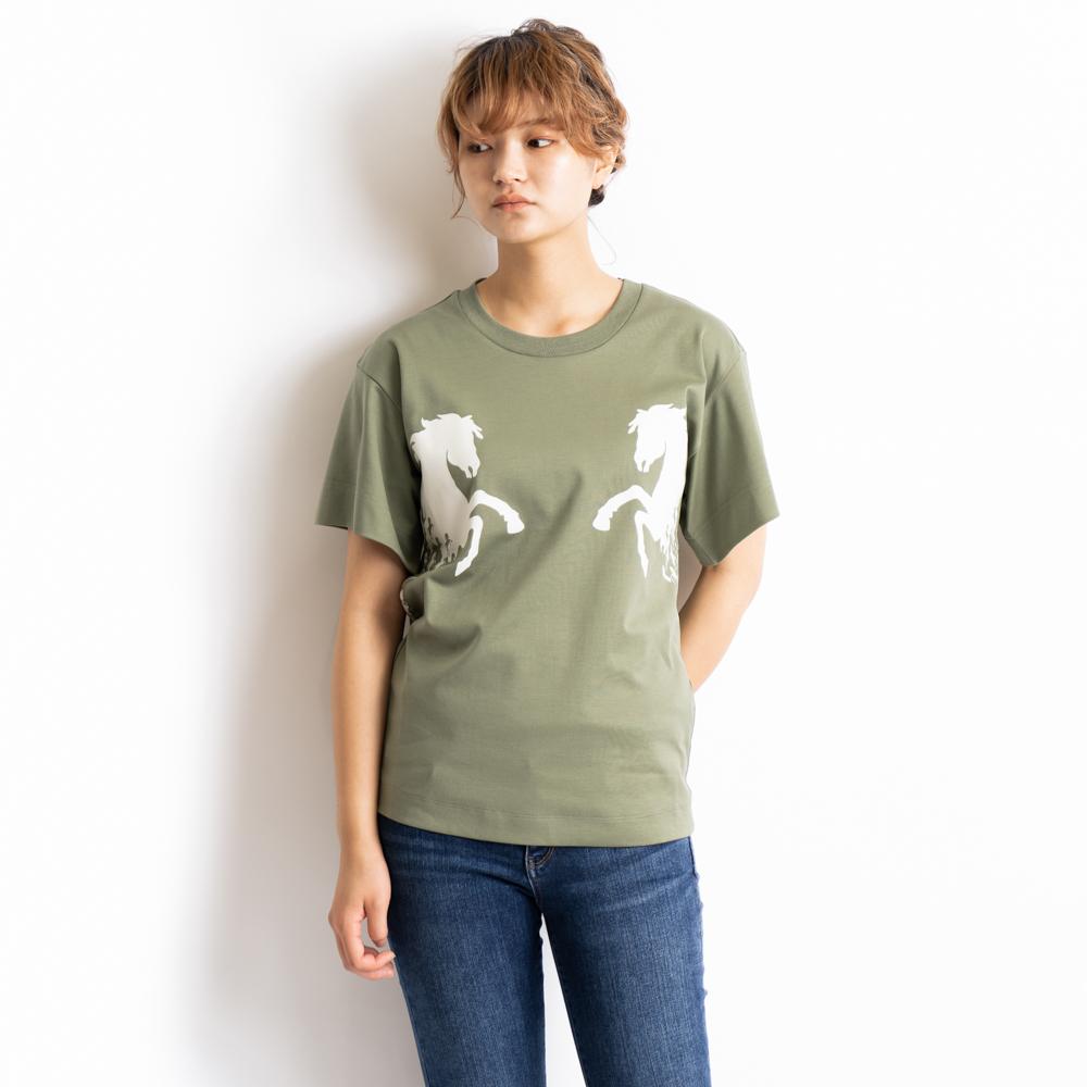 クロエ Chloe Tシャツ カットソー 半袖 オーバーサイズ トップス レディース プラントグリーン CHC19SJH212883D7 Sサイズ コットン 綿 ホース 馬 プリント plant green