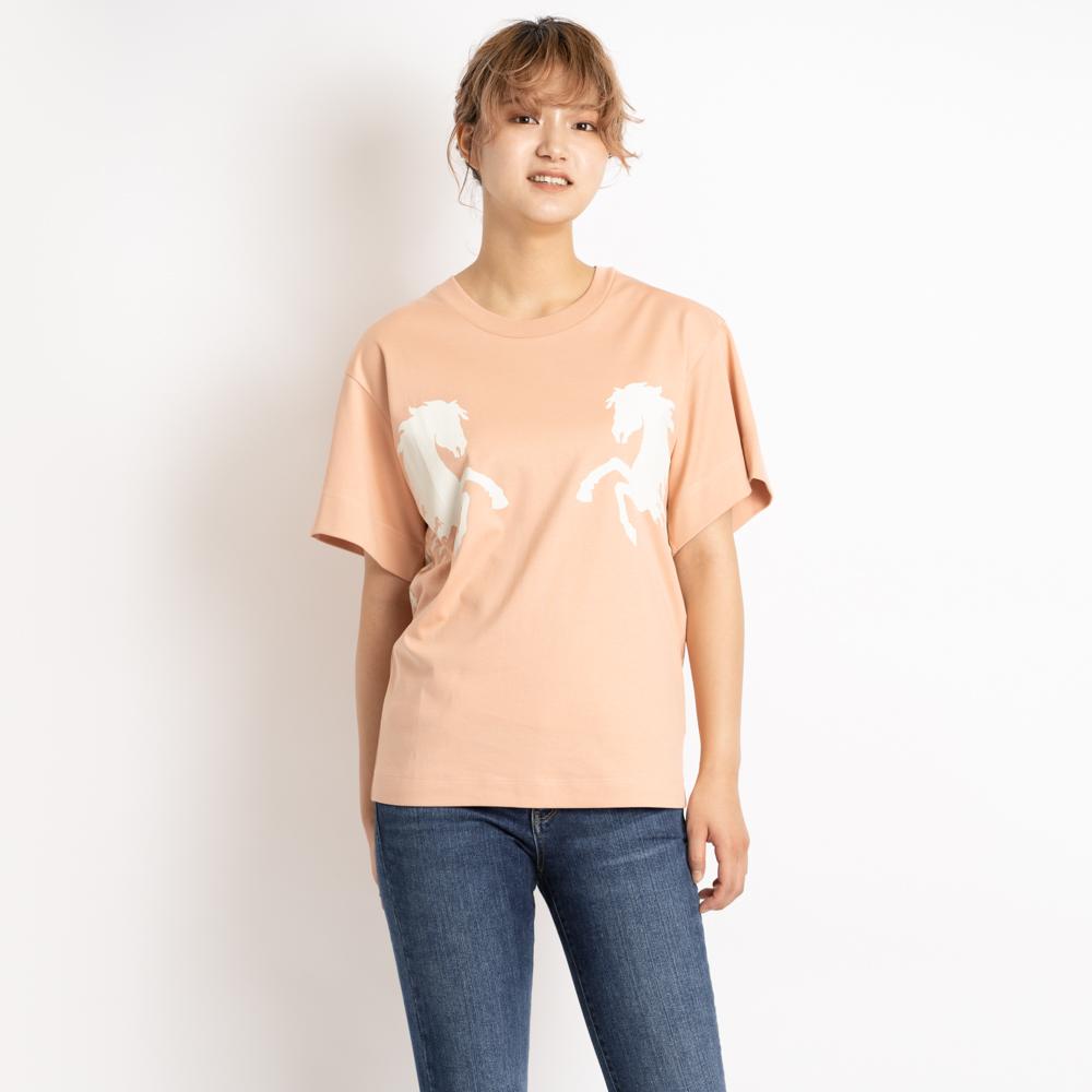 クロエ Chloe Tシャツ カットソー 半袖 オーバーサイズ トップス レディース コーヒーピンク CHC19SJH212886I3 コットン 綿 ホース 馬 プリント XS/S/M coffee pink