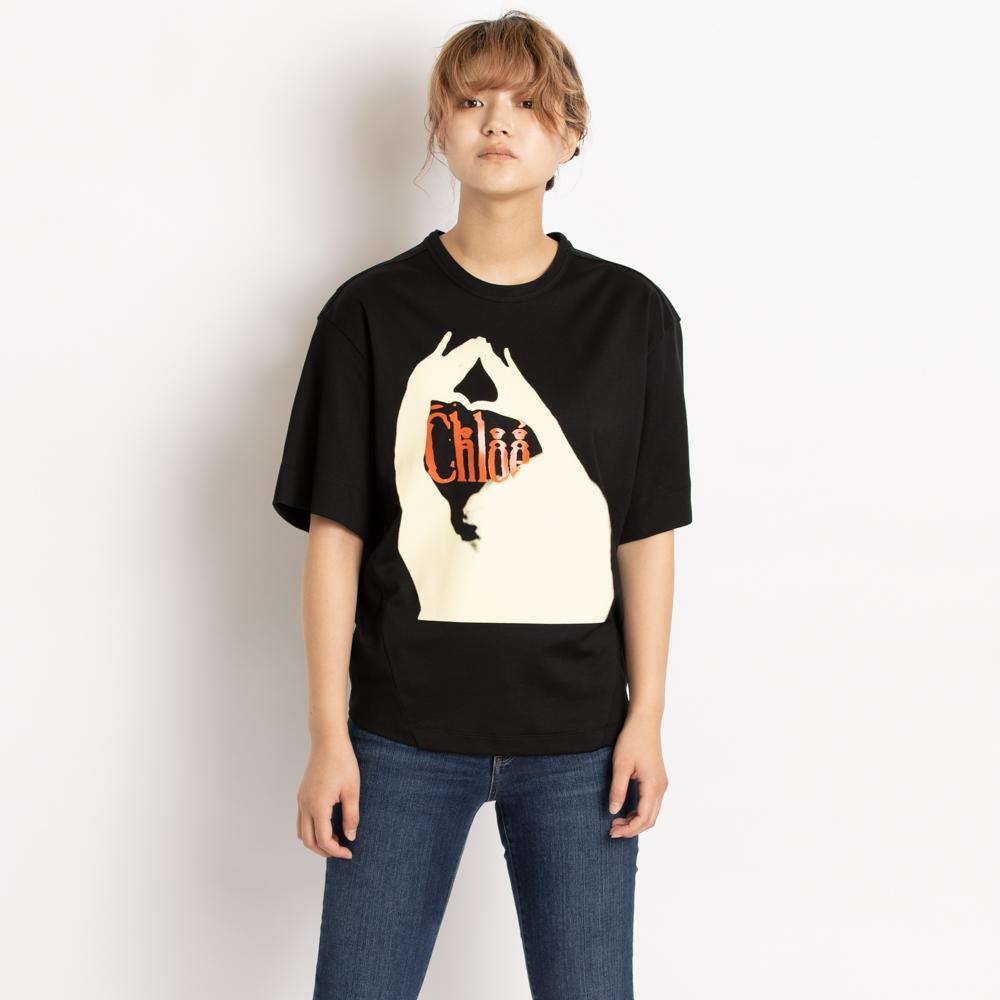 クロエ Chloe Tシャツ カットソー 半袖 オーバーサイズ トップス レディース ブラック CHC19UJH23288001 コットン 綿 プリント ロゴ XS/S ヨガ スポーツ リラックス