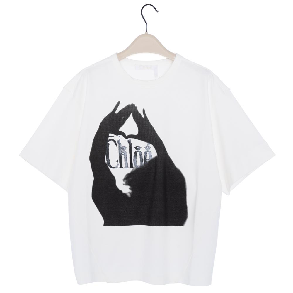 クロエ Chloe Tシャツ カットソー 半袖 オーバーサイズ トップス レディース ホワイト Iconic Milk CHC19UJH23288107 コットン 綿 プリント ロゴ XS/S/M ヨガ スポーツ リラックス