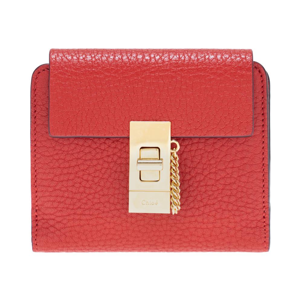 クロエ 財布 二つ折り財布 コンパクト ミニ Chloe ドリュー DREW レディース レザー レッド CHC16AP805944640 PLAID RED SQUARE WALLET ギフト プレゼント