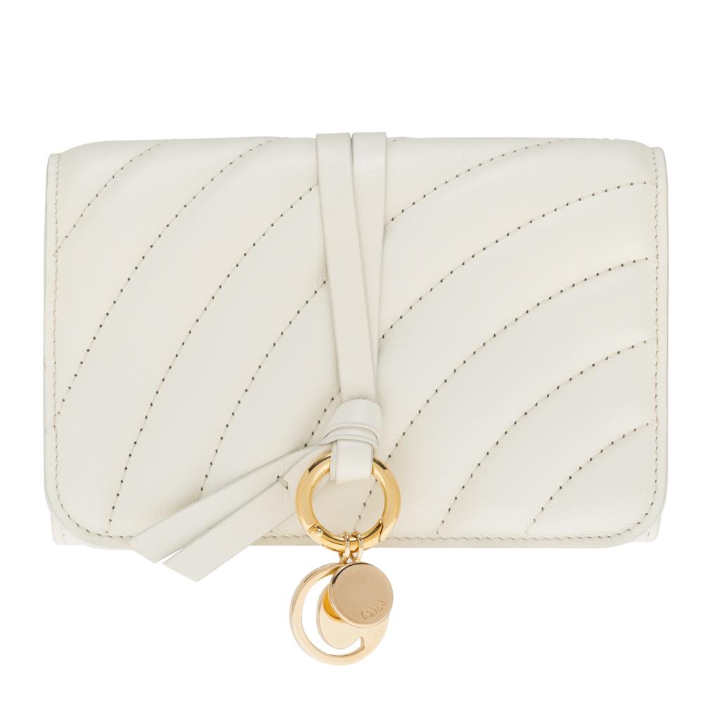 クロエ 財布 三つ折り財布 コンパクト ナチュラルホワイト Chloe アルファベット ALPHABET レディース レザー CHC18AP943A04119 Compact wallet Natural White 送料無料 プレゼント ギフト 小物