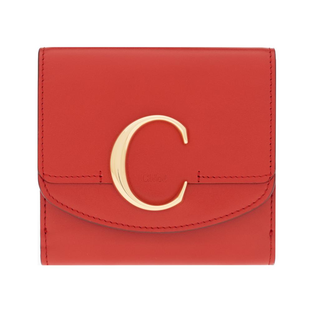 クロエ 財布 二つ折り財布 コンパクト クロエ シー Chloe C レディース レザー レッド CHC19SP056A37640 Plaid Red Compact wallet プレゼント ギフト 小物