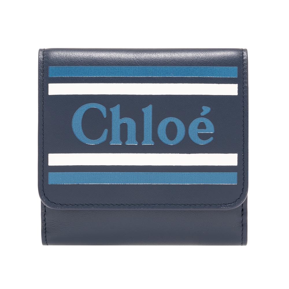 クロエ Chloe 財布 三つ折り財布 小銭入れ付き ネイビー Eclipse Blue VICK ヴィック レザー レディース chc19sp066a8849z ギフト プレゼント
