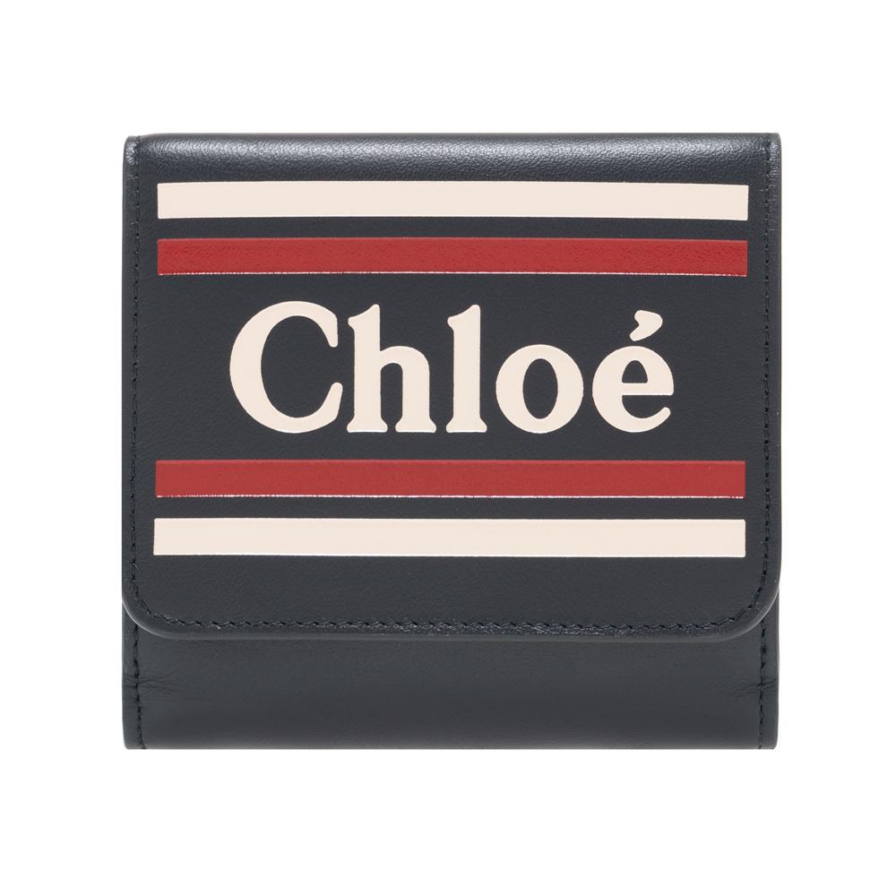 クロエ Chloe 二つ折り財布 小銭入れ付き ダークネイビー VICK ヴィック レザー レディース Full Blue chc19sp066a884d4 ギフト プレゼント