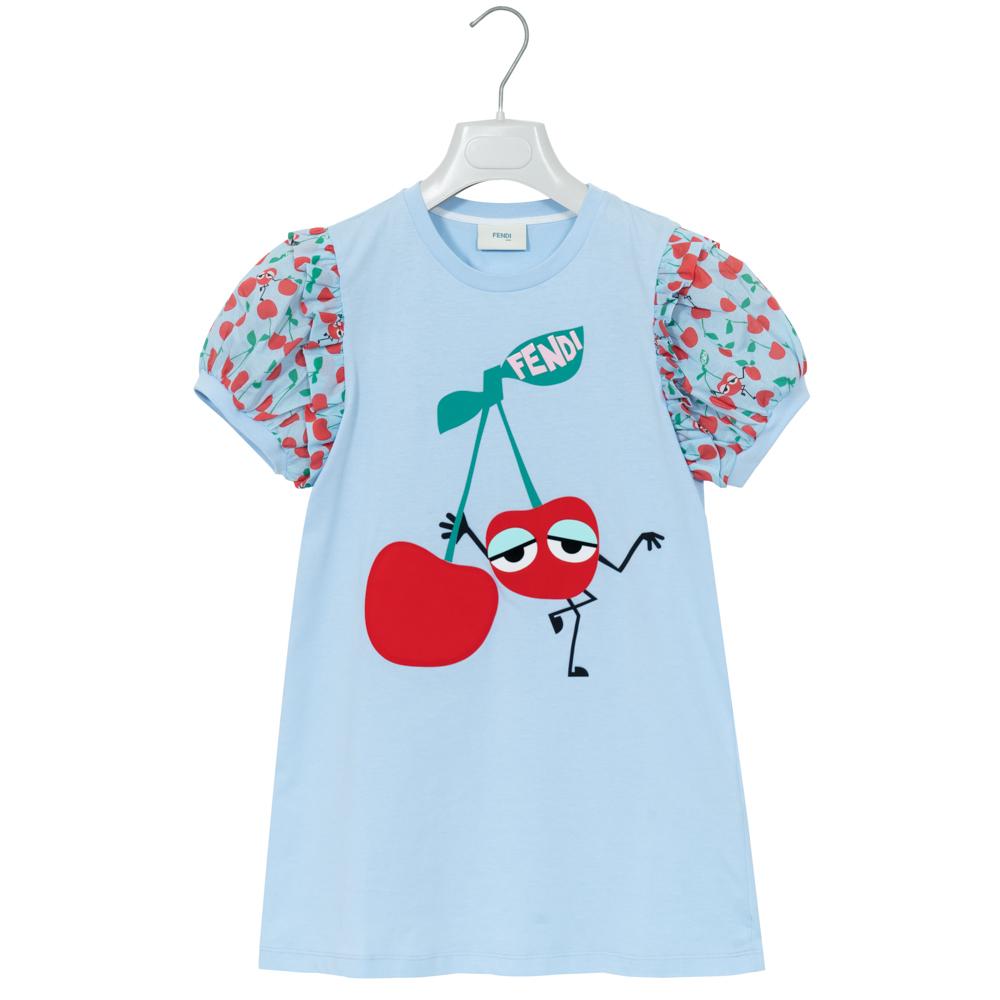 フェンディ FENDI Tシャツ ワンピース キッズ コットン ライトブルー チェリー柄 さくらんぼ JFB107 7AJ F0QB5 10A(155cm) 新品 正規品 女の子 女児 ガールズ 春夏 ギフト プレゼント