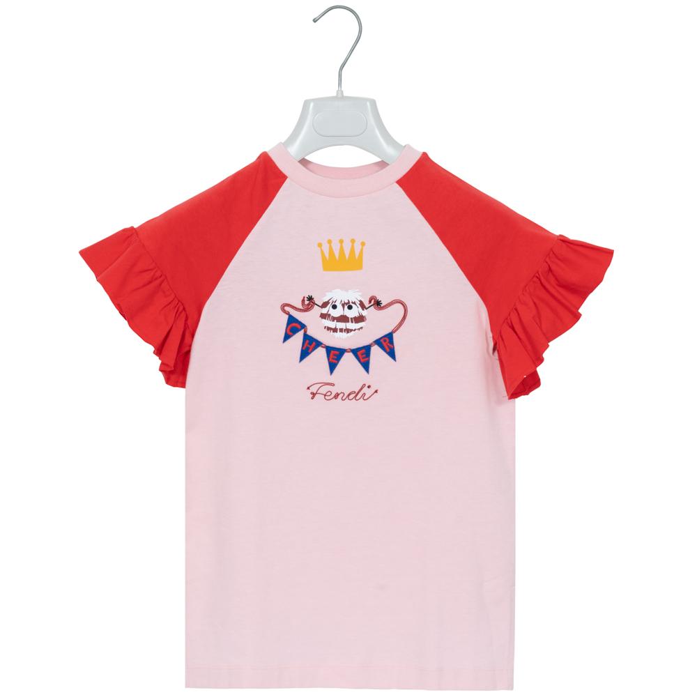 フェンディ FENDI Tシャツ トップス キッズ コットン ピンク/レッド JFI096 7AJ F0UA3 7A(130cm) 新品 正規品 女の子 女児 ガールズ 春夏 ギフト プレゼント