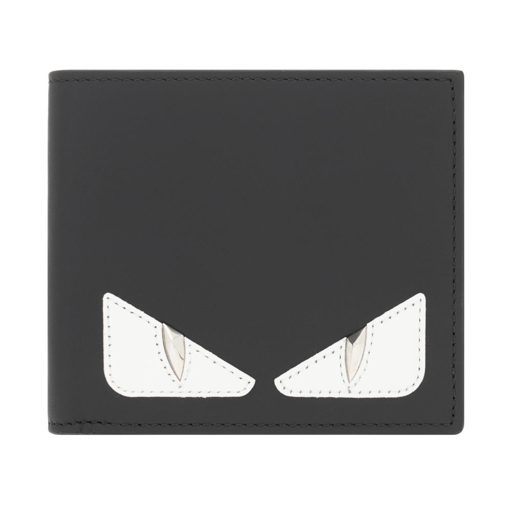 フェンディ 財布 二つ折り財布 メンズ FENDI バグス ブラック/ホワイト マットレザー 小銭入れなし 7M0169 A3DO F1387 OCCHI BUGS バグズ モンスター 革 レザー プレゼント ギフト 小物