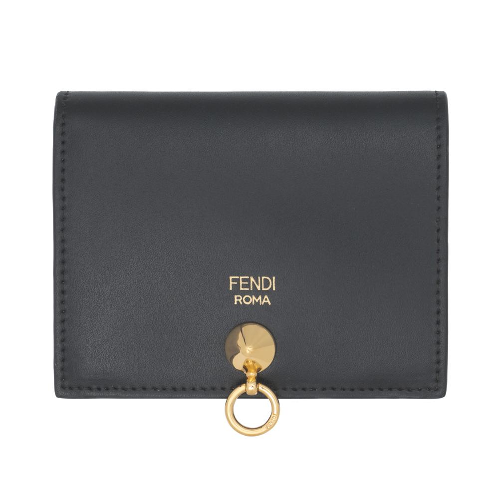 フェンディ 財布 二つ折財布 ミニ コンパクト レディース FENDI BY THE WAY バイザウェイ ブラック/ソフトゴールド レザー 8M0387 SME F0KUR SMALL WALLET ギフト プレゼント ラッピング無料