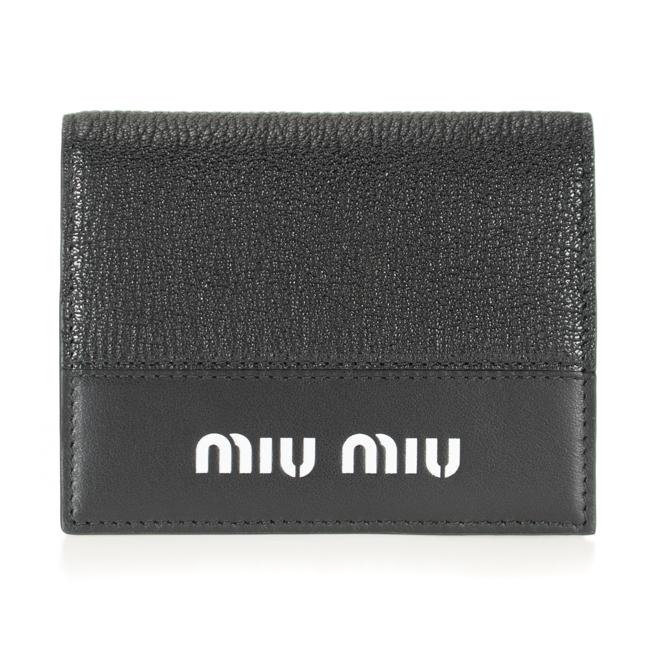 ミュウミュウ MIUMIU 二つ折り財布 ミニ財布 ブラック 5MV204 BU4 1000 マドラス MADRAS CITY レディース レザー 革 ミューミュー 送料無料