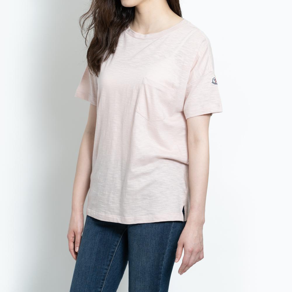 モンクレール MONCLER Tシャツ オーバーサイズ レディース メンズ 半袖 袖ロゴ ピンク T-SHIRT GIROCOLO 8081900 82857 529 S【トップス ブランドTシャツ】