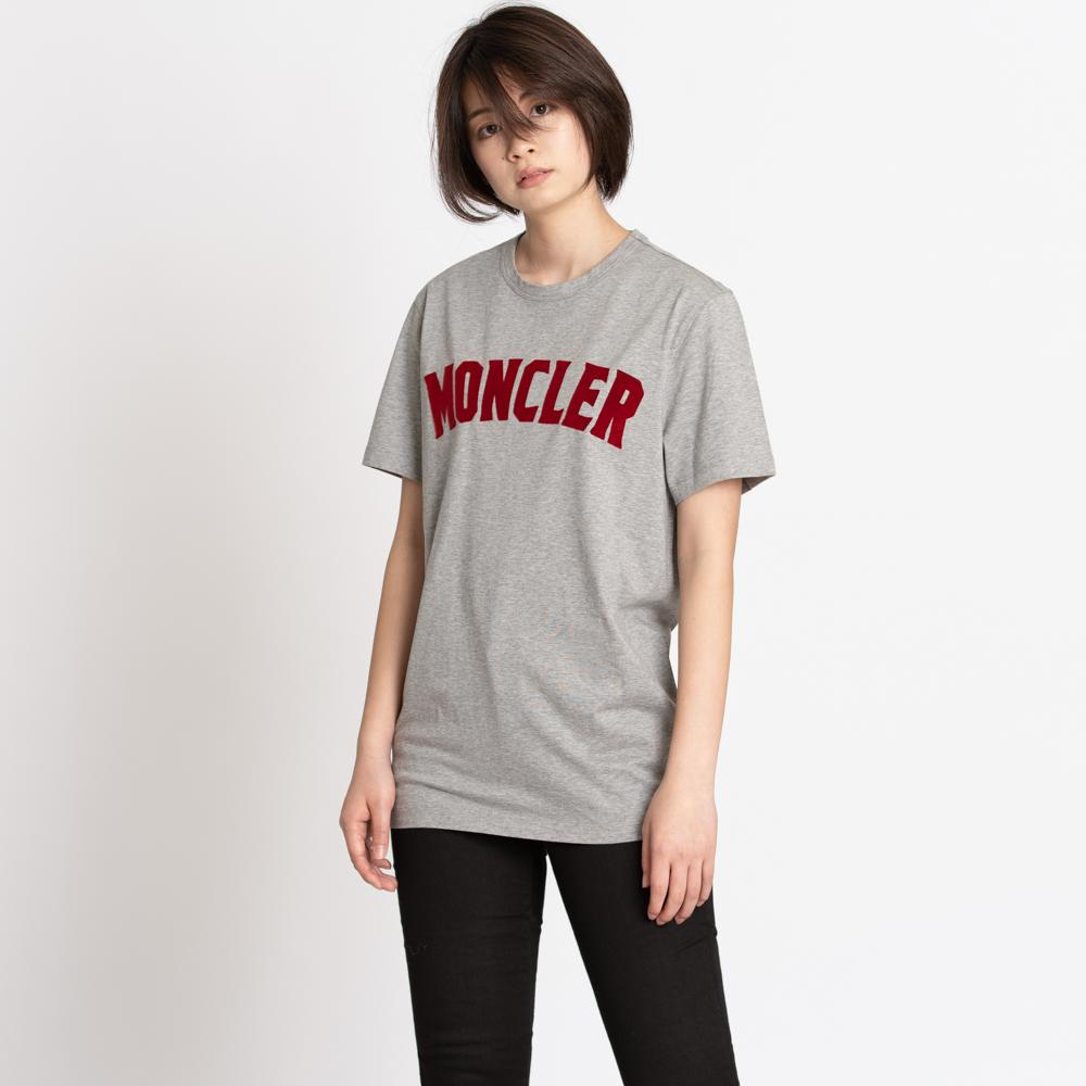 モンクレール ジーニアス Tシャツ カットソー 2 MONCLER GENIUS 1952 メンズ レディース グレー S/M 8045350 8390Y 984 MAGLIA T-SHIRT 赤ロゴ シンプル 半袖 トップス コットン