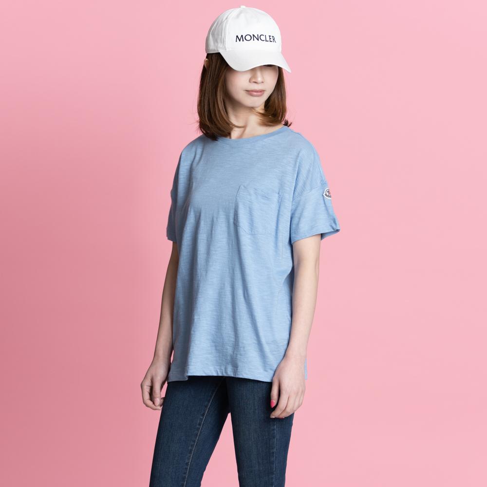 モンクレール MONCLER Tシャツ オーバーサイズ レディース メンズ 半袖 袖ロゴ ブルー T-SHIRT GIROCOLO 8081900 82857 70C S【トップス ブランドTシャツ】