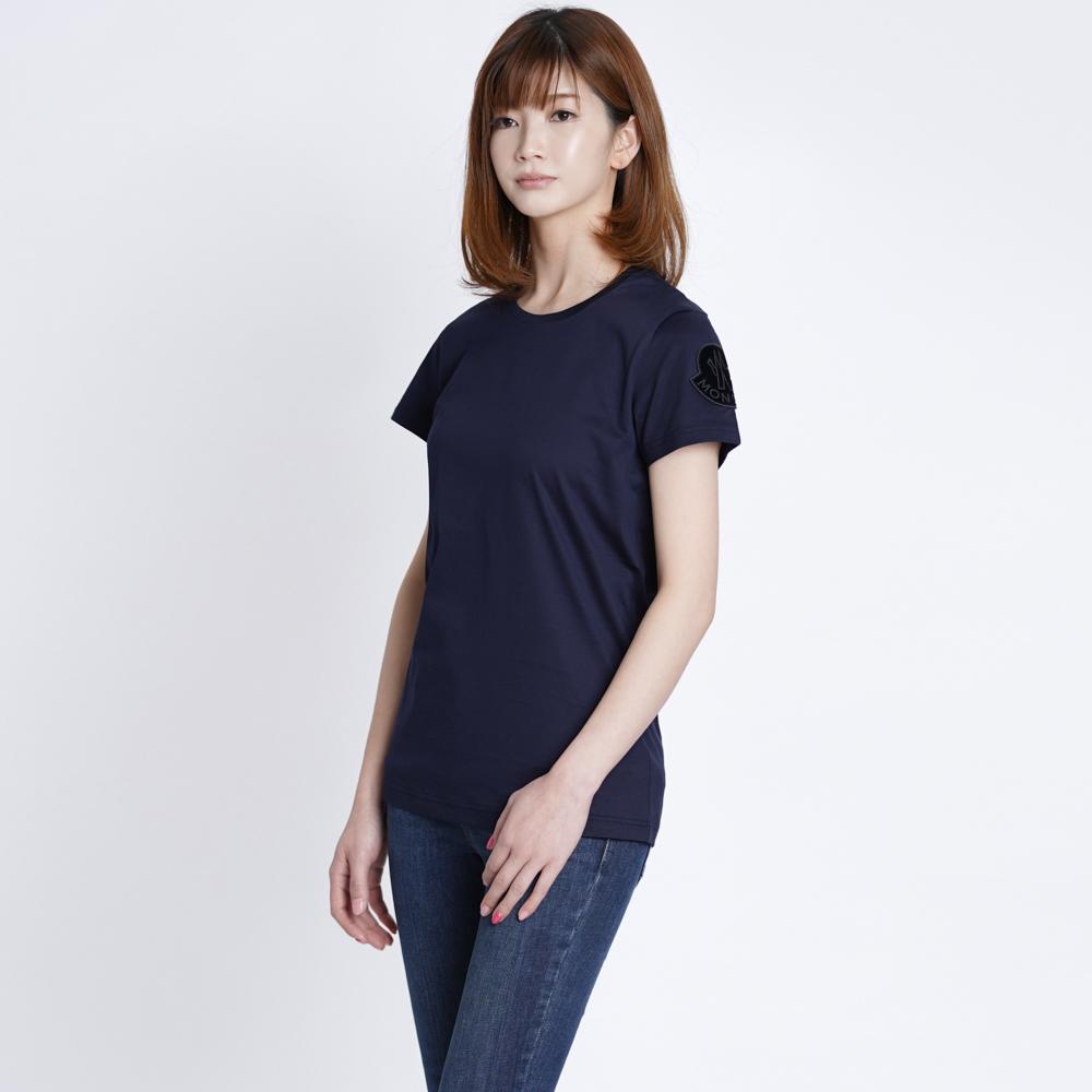 モンクレール Tシャツ カットソー レディース MONCLER 8086260 8390X 778 XS/S ネイビー コットン T-SHIRT GIROCOLLO ロゴ 新品 正規品 春夏 トップス