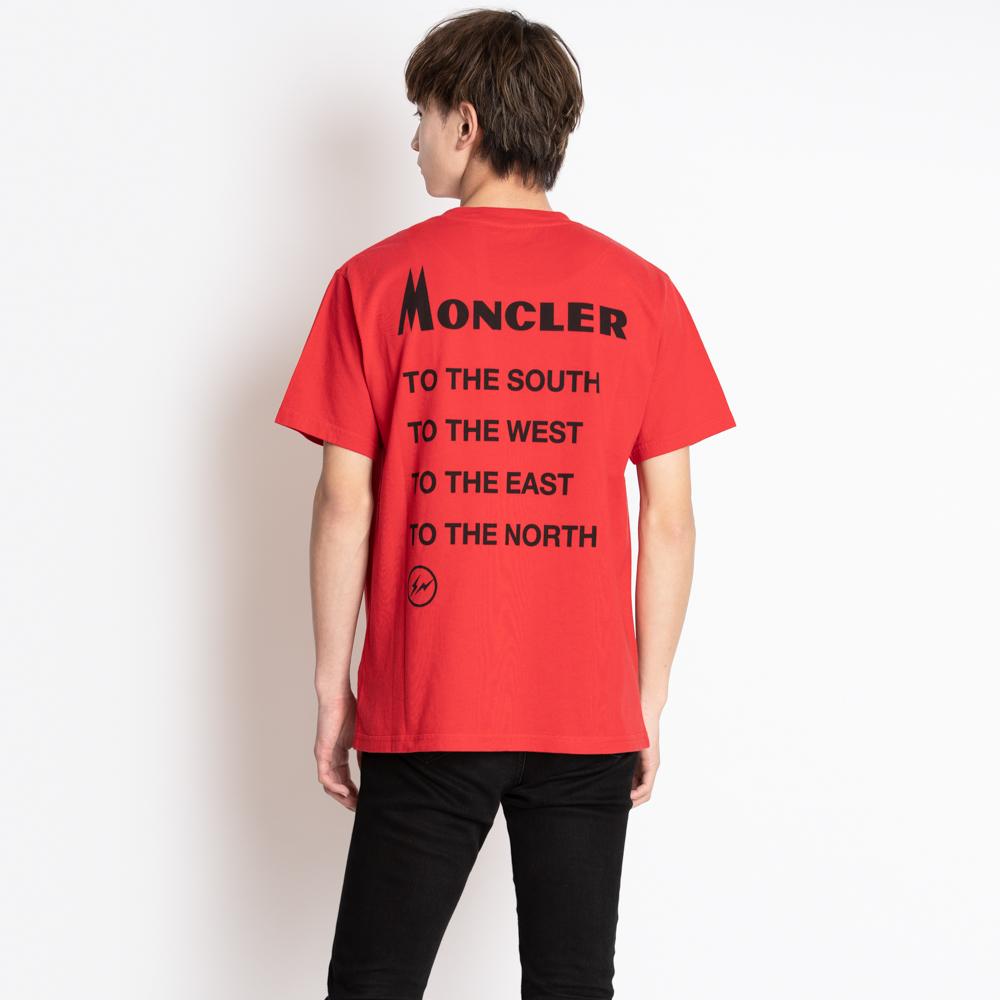 モンクレール ジーニアス Tシャツ カットソー メンズ 半袖 7 MONCLER GENIUS FRAGMENT HIROSHI FUJIWARA 藤原ヒロシ プリント ロゴ レッド コットン S 8039850 8391Q 455 S MAGLIA T-SHIRT