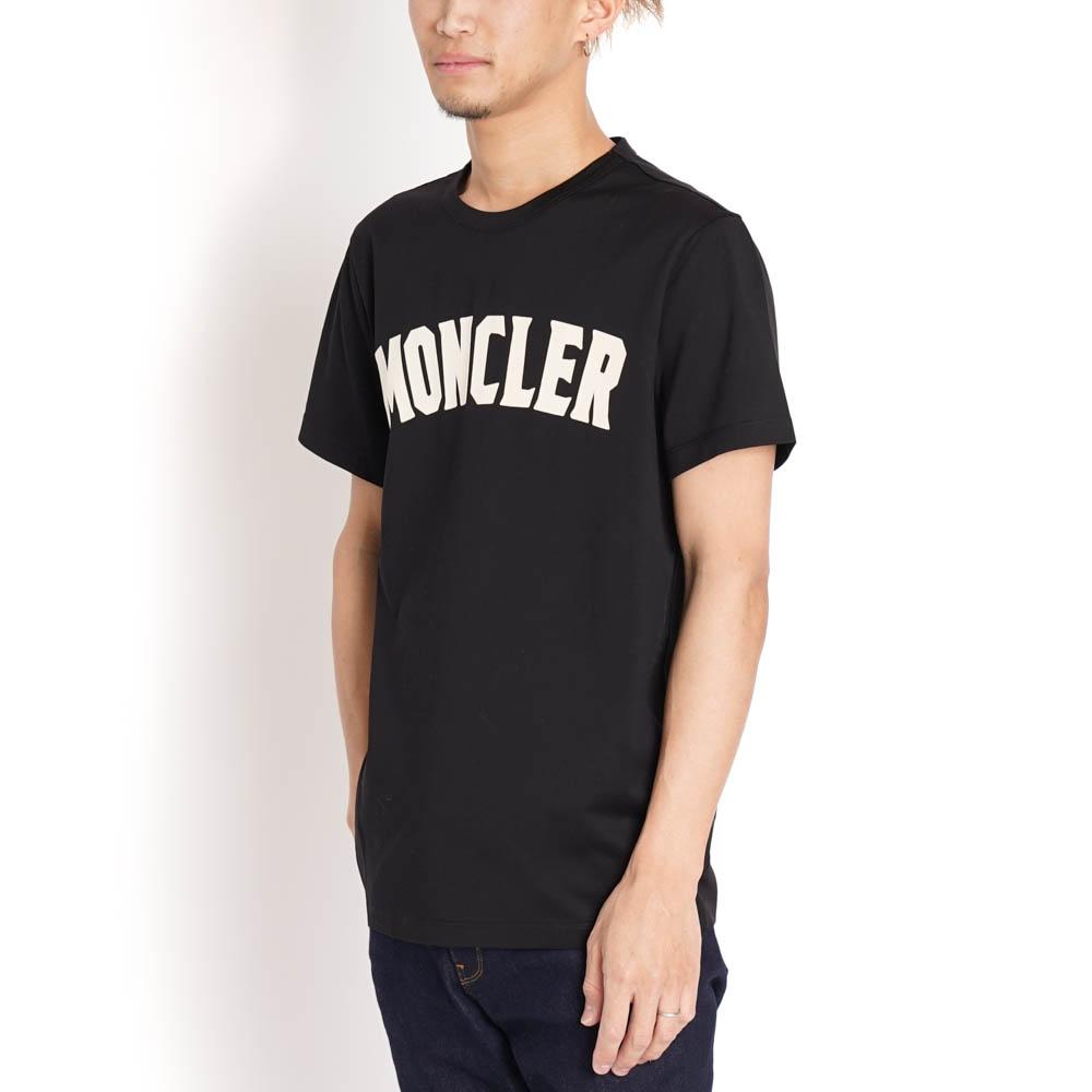 モンクレール ジーニアス Tシャツ カットソー 2 MONCLER GENIUS 1952 メンズ MONCLER ブラック コットン 8045350 8390Y 999 XS/S MAGLIA T-SHIRT 白ロゴ シンプル 半袖 トップス