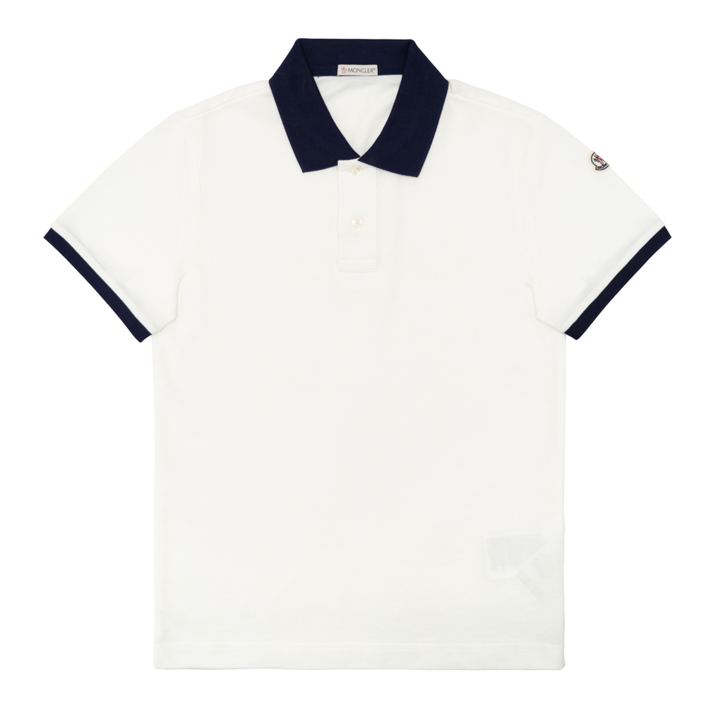d2eb66d8 Monk rail MONCLER polo shirt men short sleeves sleeve logo white / navy  MAGLIA POLO MANICA ...
