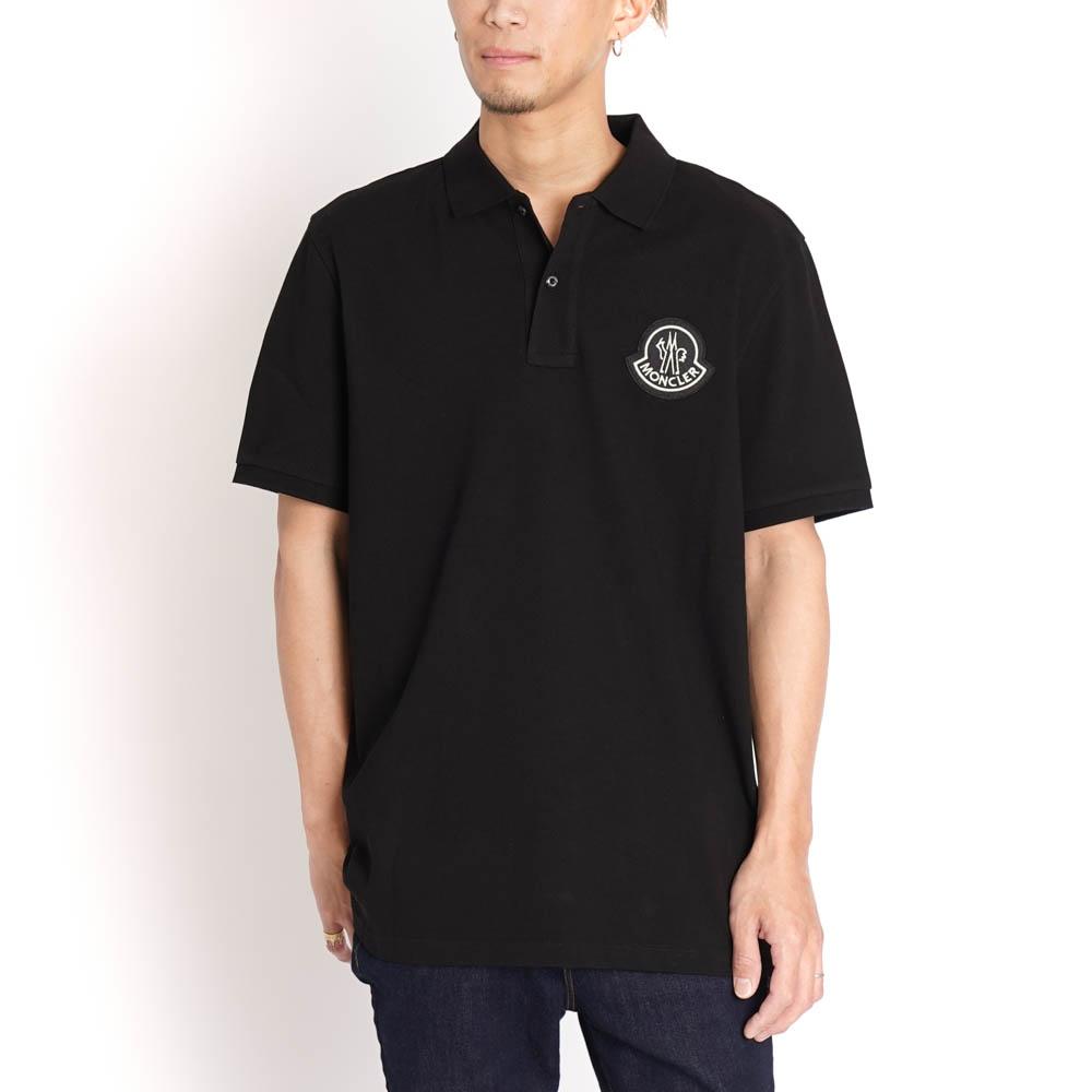 モンクレール ジーニアス ポロシャツ 2 MONCLER GENIUS 1952 メンズ ブラック コットン moncler 8323600 84556 999 S MAGLIA POLO MANICA CORTA 胸ロゴ シンプル 半袖 ゴルフ