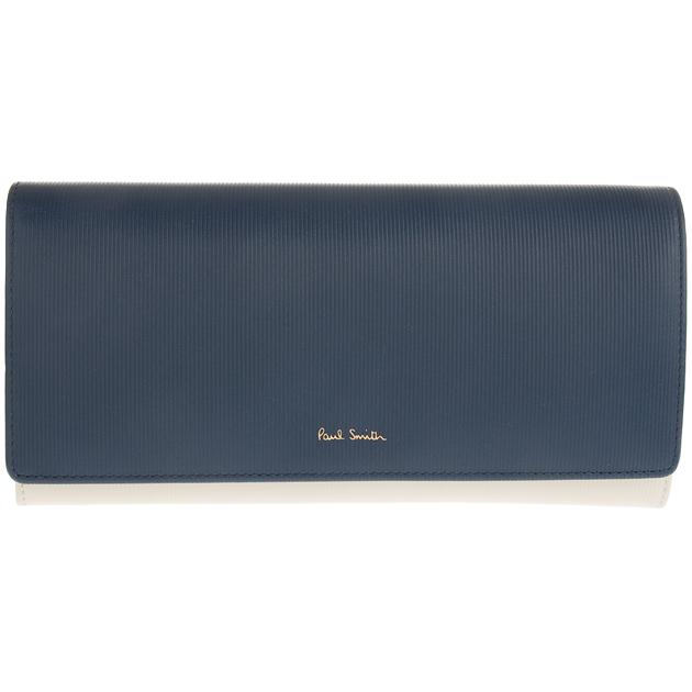 ポールスミス Paul Smith 二つ折り長財布 メンズ レディース 財布 WPXA 4608 W748 ネイビー/オフホワイト イタリア製 レザー 送料無料