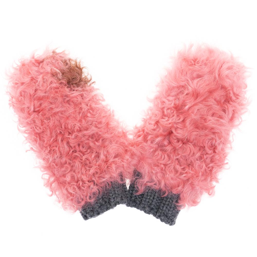 プラダ 手袋 レディース PRADA シープファー/ウール 1GG055 2BN9 F0OR5 ピンク系/グレー BEGONIA/CAMMELL ギフト プレゼント