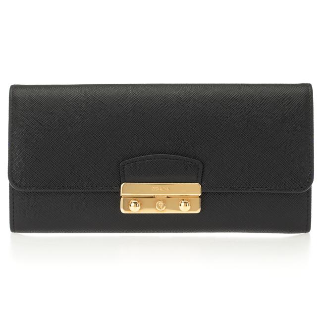 プラダ 財布 PRADA 二つ折り財布 レディース ブラック 1MH037 2EL7 F0002 NERO SAFFIANO LOCK サフィアーノレザー 送料無料