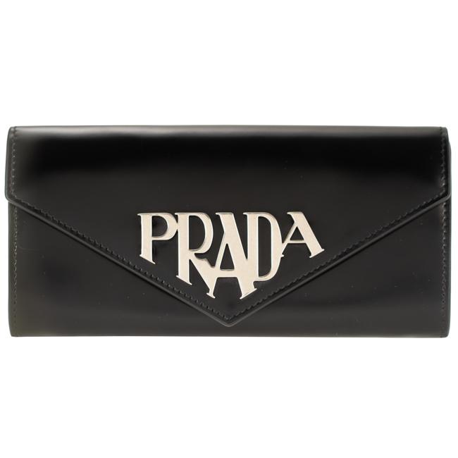 プラダ 財布 PRADA 二つ折り長財布 レディース ブラック 1MH037 ZO6 F0002 PRADA SPAZZOLATO メタルロゴ レザー 黒 革 ギフト プレゼント