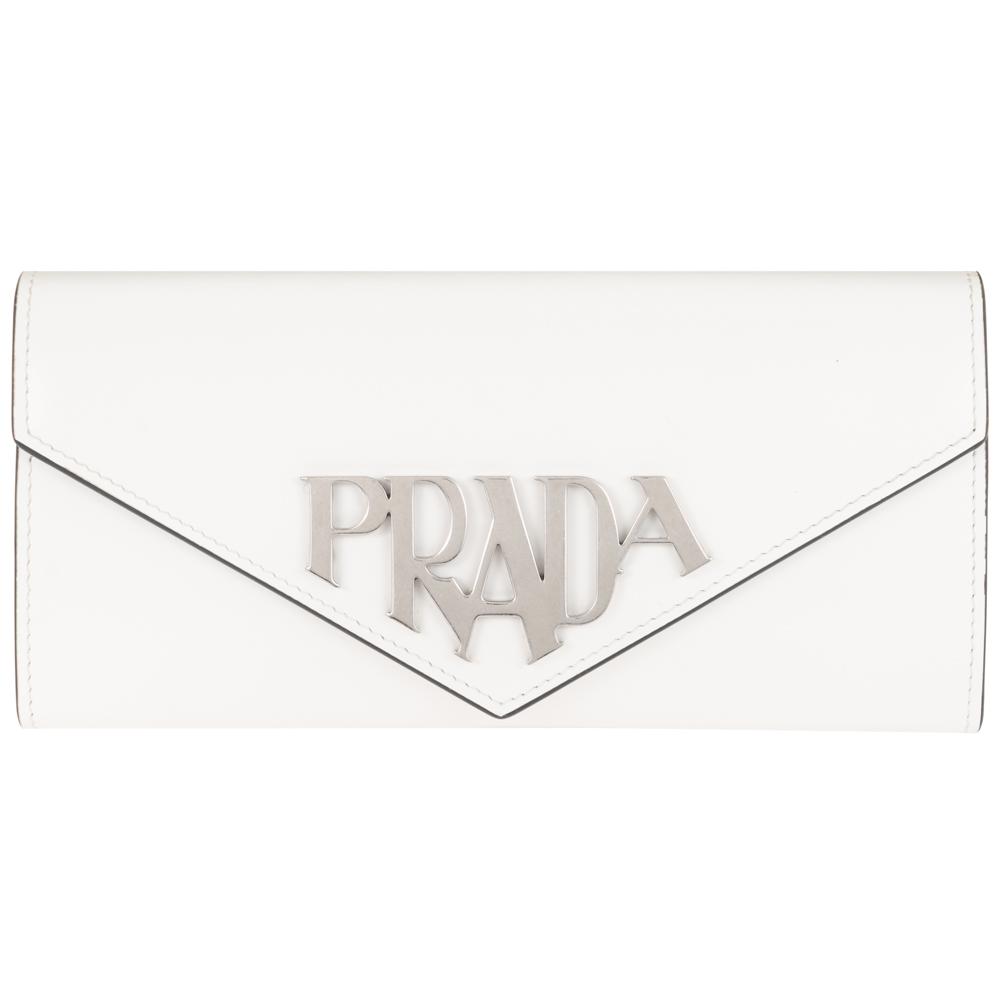 プラダ 財布 PRADA 二つ折り長財布 レディース ホワイト 1MH037 ZO6 F0009 PRADA SPAZZOLATO メタルロゴ レザー 白 送料無料