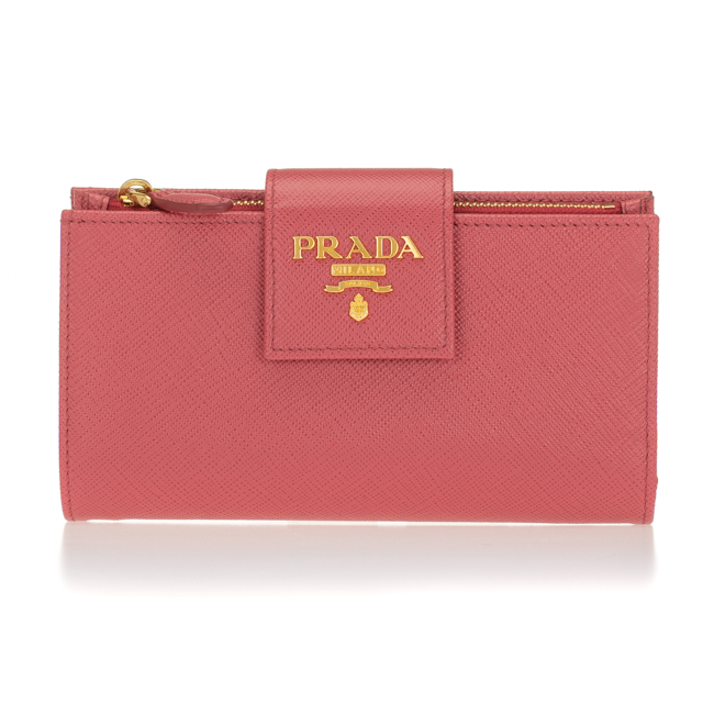プラダ 財布 PRADA 二つ折り財布 レディース ピンク 1ML005 QWA F0505 PRADA PEONIA SAFFIANO METAL 送料無料